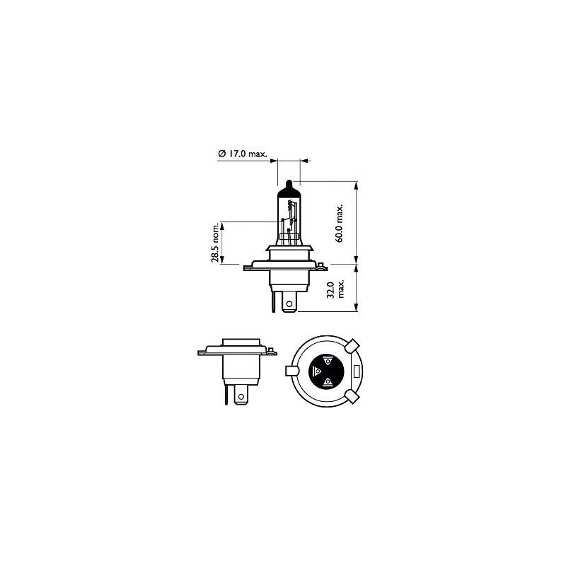 Bosch H4 12V/60/55W +120% GIGALIGHT PLUS 120 lempute (1vnt)